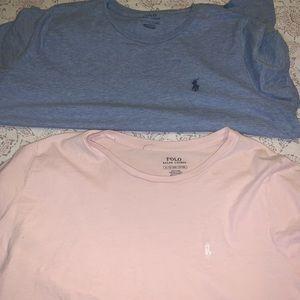 2 polo Ralph Lauren short sleeve shirts .